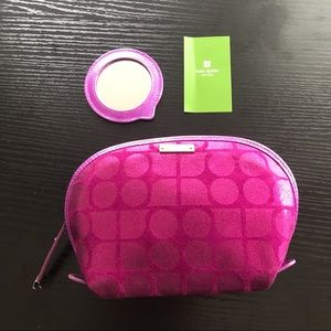 Kate Spade Mercer Street Noel Hotpink Pouch with Mirror